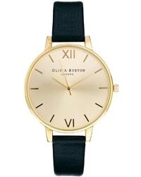 schwarze und goldene Leder Uhr von Olivia Burton