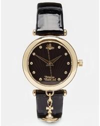 schwarze und goldene Leder Uhr von Vivienne Westwood