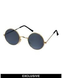 schwarze und goldene Sonnenbrille von Reclaimed Vintage