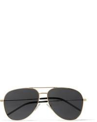 schwarze und goldene Sonnenbrille von Saint Laurent