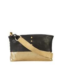 schwarze und goldene verzierte Leder Clutch von Laura B