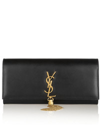 schwarze und goldene verzierte Leder Clutch von Saint Laurent