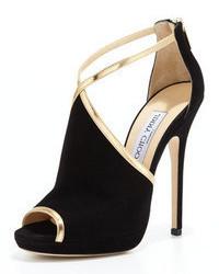 schwarze und goldene Wildleder Sandaletten
