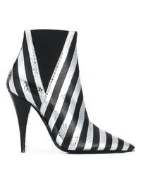 schwarze und silberne Leder Stiefeletten von Saint Laurent