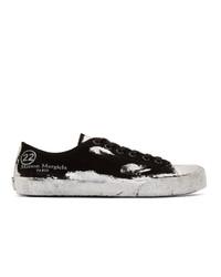 schwarze und silberne Segeltuch niedrige Sneakers von Maison Margiela