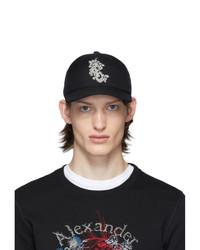 schwarze und weiße bedruckte Baseballkappe von Alexander McQueen