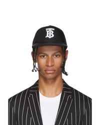 schwarze und weiße bedruckte Baseballkappe von Burberry