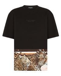 schwarze und weiße bedruckte Baseballkappe von Dolce & Gabbana