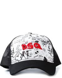 schwarze und weiße bedruckte Baseballkappe von Dsquared2