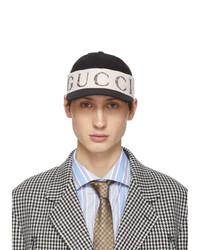 schwarze und weiße bedruckte Baseballkappe von Gucci
