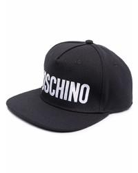 schwarze und weiße bedruckte Baseballkappe von Moschino