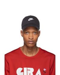 schwarze und weiße bedruckte Baseballkappe von Nike