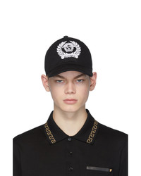 schwarze und weiße bedruckte Baseballkappe von Versace