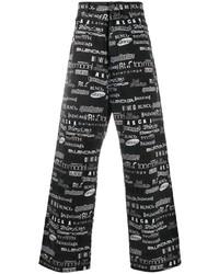 schwarze und weiße bedruckte Jeans von Balenciaga