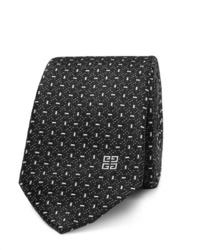 schwarze und weiße bedruckte Krawatte von Givenchy