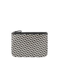 schwarze und weiße bedruckte Leder Clutch Handtasche