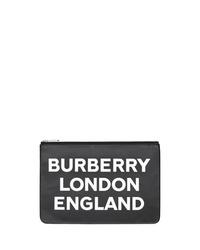 schwarze und weiße bedruckte Leder Clutch Handtasche von Burberry