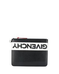schwarze und weiße bedruckte Leder Clutch Handtasche von Givenchy