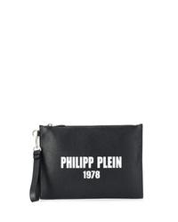 schwarze und weiße bedruckte Leder Clutch Handtasche von Philipp Plein
