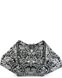 schwarze und weiße bedruckte Leder Clutch von Alexander McQueen