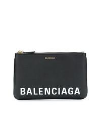 schwarze und weiße bedruckte Leder Clutch von Balenciaga