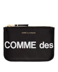 schwarze und weiße bedruckte Leder Clutch von Comme des Garcons Wallets