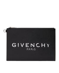 schwarze und weiße bedruckte Leder Clutch von Givenchy