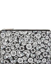 schwarze und weiße bedruckte Leder Clutch von Kenzo