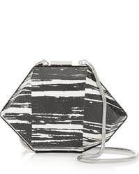 schwarze und weiße bedruckte Leder Clutch von MCQ