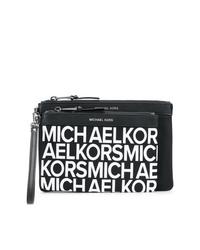 schwarze und weiße bedruckte Leder Clutch von MICHAEL Michael Kors