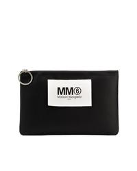 schwarze und weiße bedruckte Leder Clutch von MM6 MAISON MARGIELA