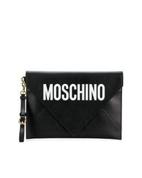 schwarze und weiße bedruckte Leder Clutch von Moschino