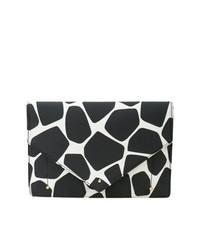 schwarze und weiße bedruckte Leder Clutch von Sara Battaglia