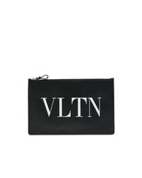 schwarze und weiße bedruckte Leder Clutch von Valentino