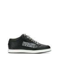 schwarze und weiße bedruckte Leder niedrige Sneakers von Jimmy Choo