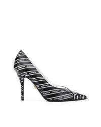 schwarze und weiße bedruckte Leder Pumps von Versace