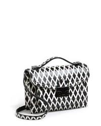 schwarze und weiße bedruckte Leder Umhängetasche