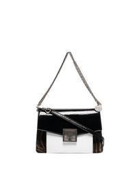 schwarze und weiße bedruckte Leder Umhängetasche von Givenchy