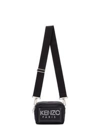 schwarze und weiße bedruckte Leder Umhängetasche von Kenzo