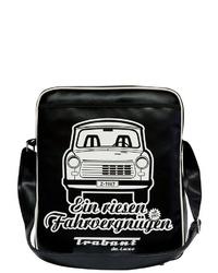 schwarze und weiße bedruckte Leder Umhängetasche von Logoshirt