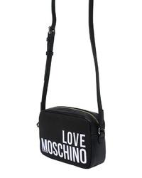schwarze und weiße bedruckte Leder Umhängetasche von Love Moschino