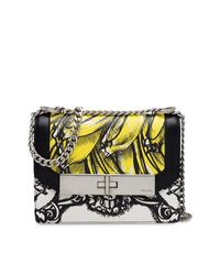 schwarze und weiße bedruckte Leder Umhängetasche von Prada
