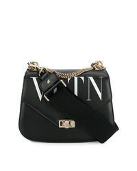schwarze und weiße bedruckte Leder Umhängetasche von Valentino