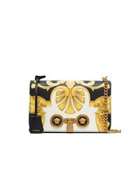 schwarze und weiße bedruckte Leder Umhängetasche von Versace