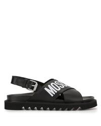 schwarze und weiße bedruckte Ledersandalen von Moschino