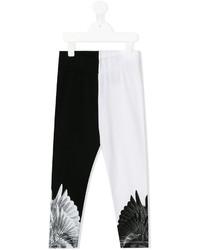 schwarze und weiße bedruckte Leggings