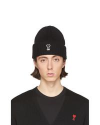 schwarze und weiße bedruckte Mütze von AMI Alexandre Mattiussi