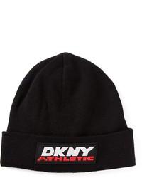schwarze und weiße bedruckte Mütze von DKNY