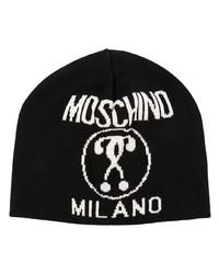 schwarze und weiße bedruckte Mütze von Moschino