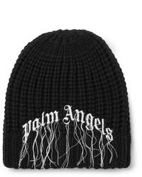 schwarze und weiße bedruckte Mütze von Palm Angels